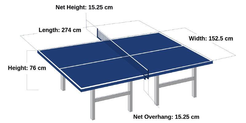 medidas mesa ping pong oficial